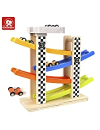 TOP BRIGHT Early Education Track Wooden Gliding Car Toys for Over 2 Years Baby