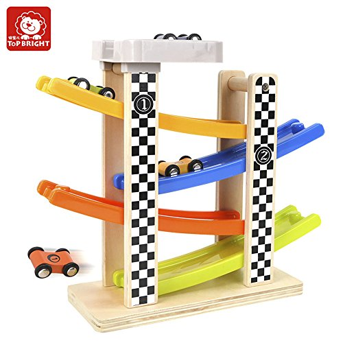 TOP BRIGHT Wooden Ramp Race Track with 4 Cars for Toddlers Baby Educational Toys