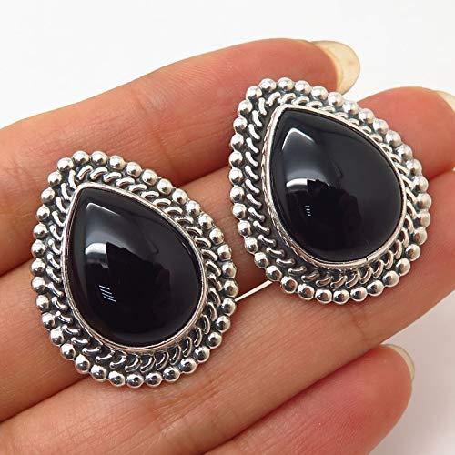 925 Sterling Silver Vintage Mexico Black Onyx Gem Ethnic Boho Design Earrings