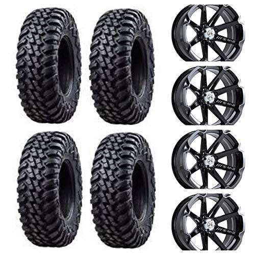 Four 32x10-15 TUSK TERRABITES mounted on Four MOTOSPORT ALLOYS M12 DIESEL Wheels - 4/156 Bolt Pattern - POLARIS RZR GENERAL RANGER SPORTSMAN 1000 900 800 570 (Black)