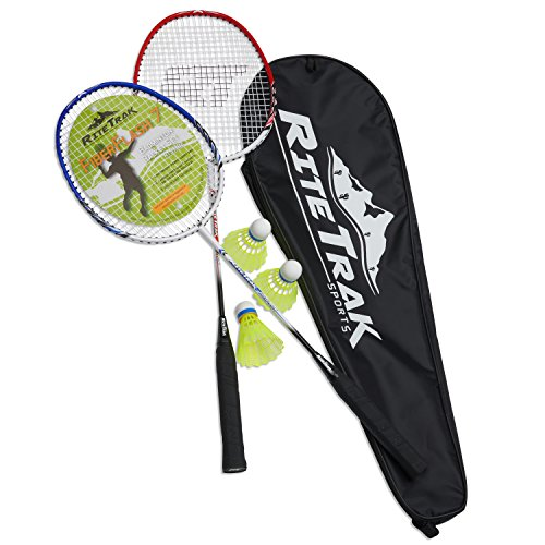 FiberFlash 7 Badminton Racket Set by RiteTrak Sports, 2 Carbon Fiber Shaft Racquets, 3 Shuttlecocks plus Fabric Carrying Bag All Included (Red/Blue/White)