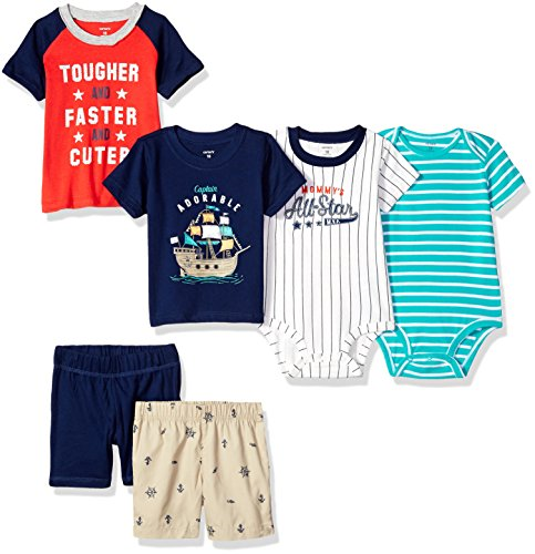 Carter's Baby Boys' 6-Piece Bodysuit Tee and Short Set, Captain/Allstar, 6 Months by Carter's