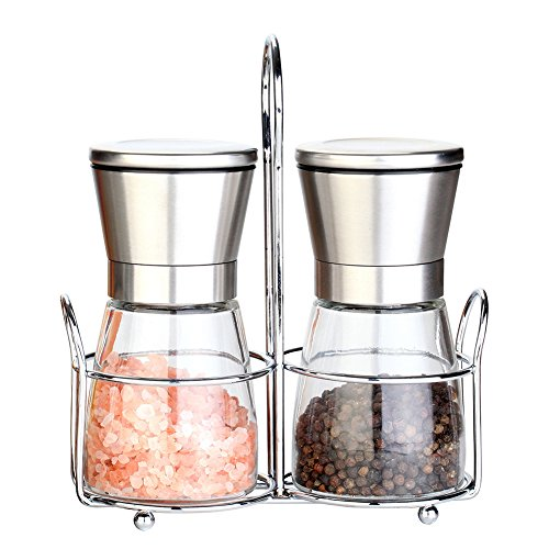 Salt and Pepper Grinders with Stand, Spice Grinder and Salt Shaker Mill Set with Adjustable Coarseness, Brushed Stainless Steel Spice Salt Server - Suitable for Kitchen and Restaurant Dinner Table