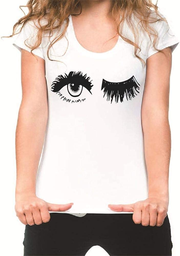La Camiseta Holgada de Gran tamaño era una Camisa de Manga Corta con Estampado de Ojos Delgados y Camiseta de Manga Corta para Mujer-Blanco_L: Amazon.es: Ropa y accesorios