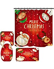 SUNGFINE 4 Piece Christmas Bathroom Decor with Shower Curtain Set, Xmas Cute Bath Decorations Sets with Tub Curtains Toilet Seat Cover,Non slip Area Rug ,Washable Mats with Hooks Snowman Santa Claus Elk