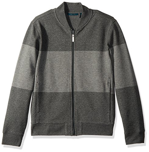 Perry Ellis Men's Cotton Blend Full Zip Jacquard Bomber, Heather Grey, Small