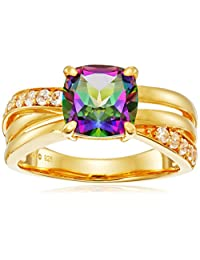 Sterling Silver with Yellow Gold Plating Mystic Fire Topaz and Created White Sapphire Cushion Ring, Size 7