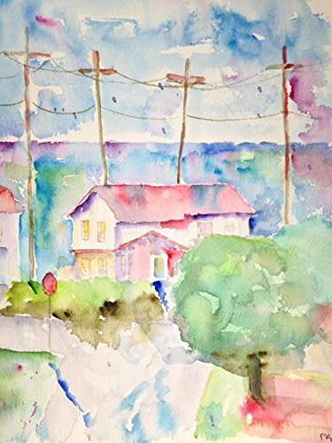 Beach Houses, RAT Beach California, 9x12 inches - Original Watercolor Art - Paintings NOT Prints (Slang Of The 1960s)