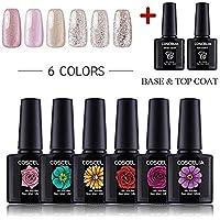 COSCELIA Soak Off Gel Nail Polish Set 6 Colors Glitter UV LED Gel Polish Set Manicure Varnish Kit (ZH-1413)