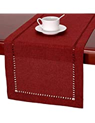GRELUCGO Handmade Hemstitched Polyester Rectangle Table Runners And Dresser Scarves, Cranberry 14x72 inch
