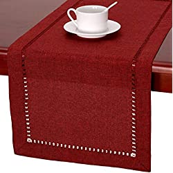 Handmade Hemstitched Polyester Rectangle Table Runners And Dresser Scarves, Cranberry 14x36 inch
