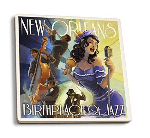 Lantern Press New Orleans, Louisiana - Jazz Scene (Set of 4 Ceramic Coasters - Cork-Backed, Absorbent) - New Orleans Coasters