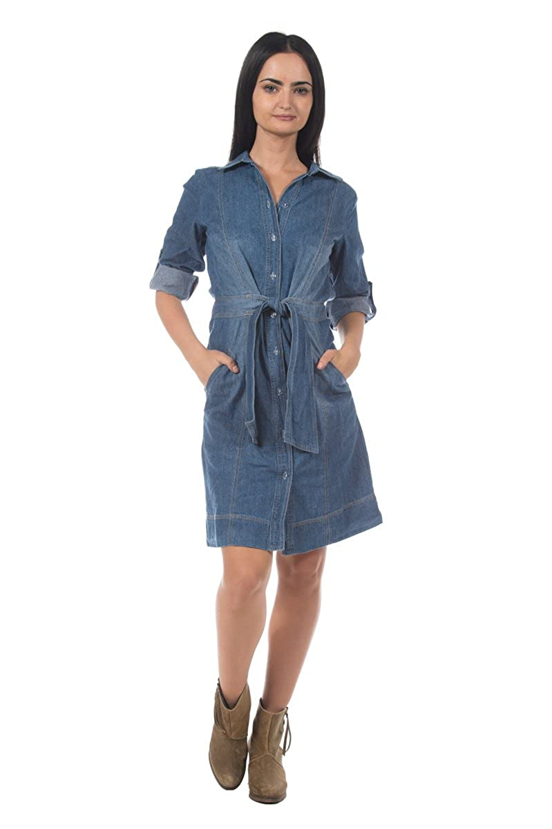 40889486f96 Rogue Finery Women s Medium Wash Blue Denim Cotton Jean Sash Tie Waist  Classic Shirt Dress at Amazon Women s Clothing store
