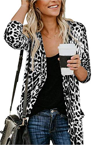 Lightweight Cardigans Shirt for Women Sexy Long Sleeve Leopard Print Casual Cardigan Tops with Pockets - White Leopard