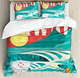Hawaiian Decorations Duvet Cover Set by Ambesonne, Hawaii Sandy Coastline Sunny Day Surfboard Tropics Famous Honeymoon Destination, 3 Piece Bedding Set with Pillow Shams, King Size, Sand Teal