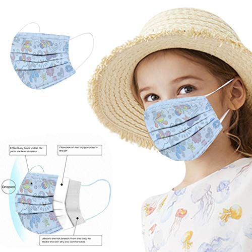Succper 50PCS Kids Children's Disposable Face Shield Covering, Non-woven, No Washable, Elastic Earloop, Face Shields With Cute Pattern, Anti-Dust, for Kids