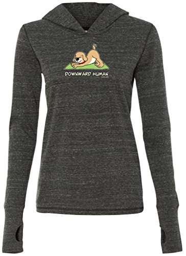 Yoga Clothing For You Ladies DOWNWARD HUMAN Tri-Blend Hoodie, 2XL Charcoal