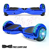 NHT Hoverboard Electric Self Balancing Scooter Hover Board with Build in Hover Board LED Running Lights Safety Certified (Chrome Blue)