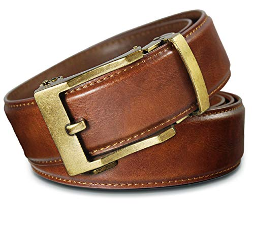 Men's Leather Ratchet Click Belt - Lincoln Antique Brass Buckle with Saddle Tan Leather Belt (Trim to Fit: Up to 33'' Waist)