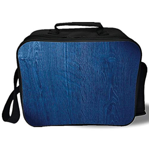Insulated Lunch Bag,Navy Blue Decor,Photo of Oak Wood Texture Nature Style Vintage Decorative Artprint Home,Royal Blue,for Work/School/Picnic, Grey