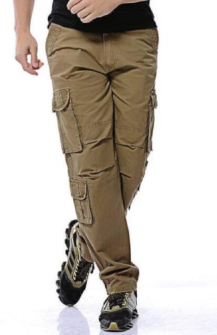 Cromoncent Men Elastic Waist Ripstop Hip Hop Multi Pockets Jogging Cargo Pants