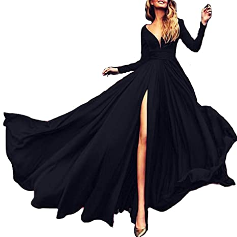 dalina Women Dresses Casual Solid Deep V Neck Long Sleeve Split Maxi Dress for Evening Party