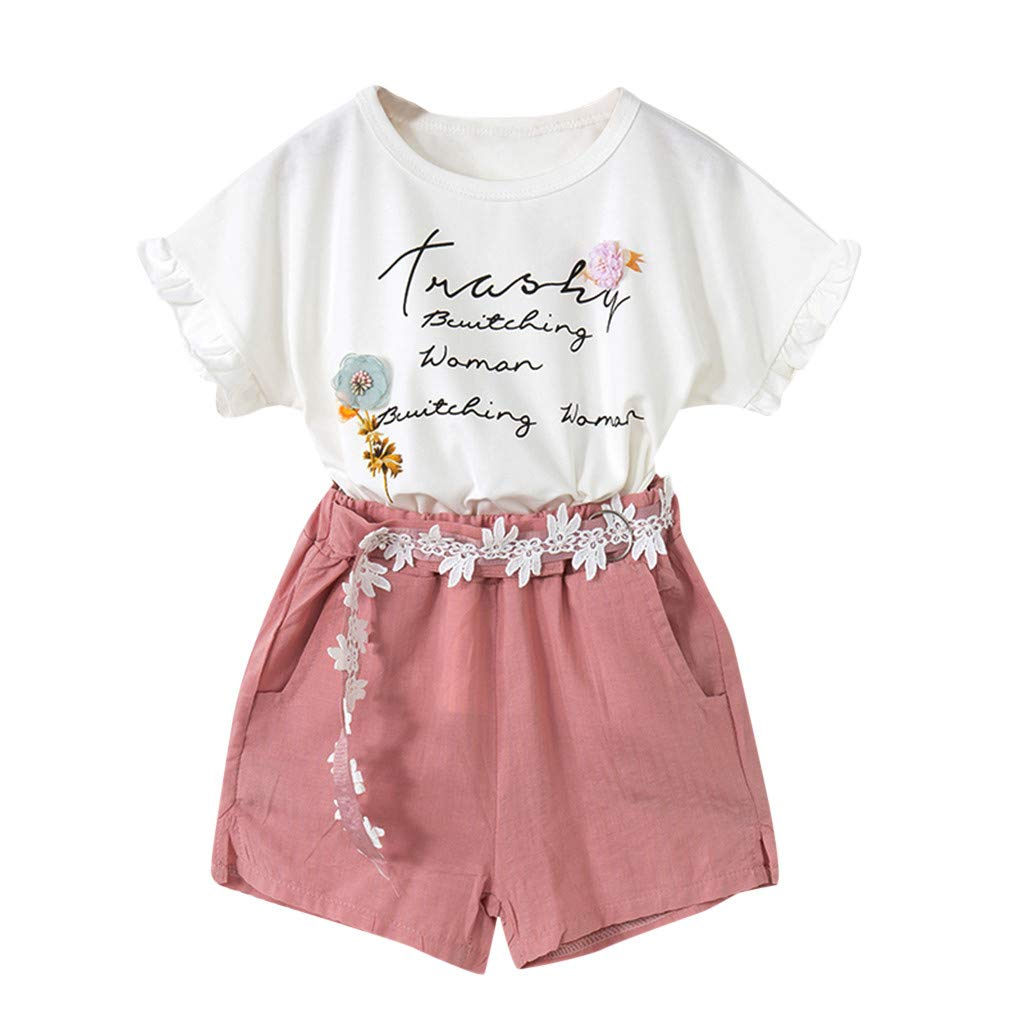 Girls Outfits Toddler Baby Girls Summer Floral Letter Short Sleeve T-Shirt Shorts Clothes Set