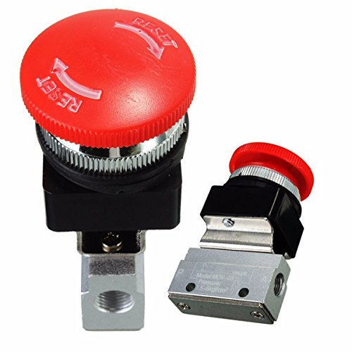 2 Way 2 Position Pneumatic Mechanical Valve 1/8 Inch Thread Push-button Switch Valve ()