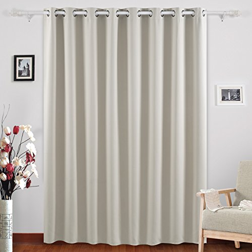 Deconovo Wide Width Window Drape Thermal Insulated Blackout Curtain For Kids Bedroom 100W X 95L Inch Light Beige 1 Panel