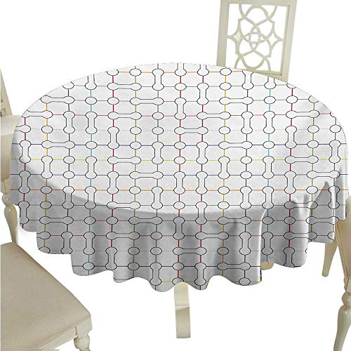 - Round Tablecloth Vinyl Fitted Modern Art,Computer Inspired Bone Shaped Bound Subway Net Motif Urban Life Display Design,Multicolor D36,for 40 inch Table