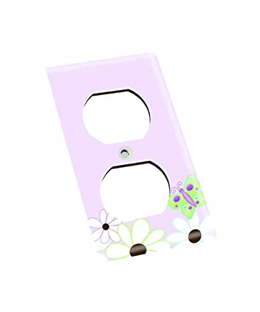 Single Cable Daisy Lilac Butterfly Girls Bedroom Light Switch Cover LS0015