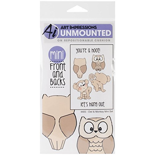 Art Impressions Front-N-Backs Front-N-Backs Front-N-Backs Cling Rubber Stamp, 7 by 4-Inch, Owl and Monkey by Art Impressions B017RR0GLQ | Economy