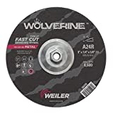 Weiler 56470 9'' x 1/4'' Wolverine Type 27 Grinding Wheel, A24R, 5/8''-11 UNC Nut (Pack of 10)