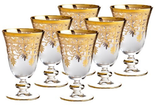 Rose's Glassware Fine Italian 8 Ounce Glasses 14 Karat Gold Accented - Set of 6 by Rose's Glassware