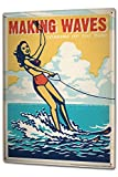 Tin Sign XXL Retro Water skiing women bikini