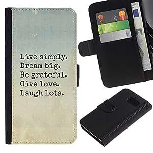 A-type (Live Dream Love Laugh Motivational) Colorida Impresión Funda Cuero Monedero Caja Bolsa Cubierta Caja Piel Card Slots Para Samsung Galaxy S6