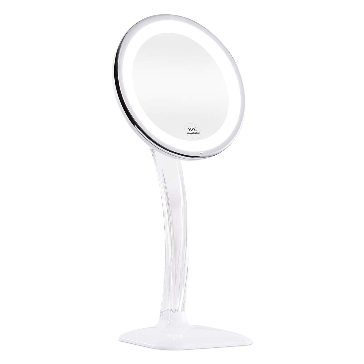 KEDSUM Upgraded 10X Magnifying Lighted Makeup Mirror, Desktop Vanity Mirror with Height 12.6-16.2 , Cosmetic Magnification Mirror with Lights, Dual Power Supply, Wireless Tabletop Lighted Mirror