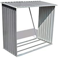 vidaXL Log Storage Shed Galvanised Steel Grey Outdoor Garden 2m³ Shelter Roof