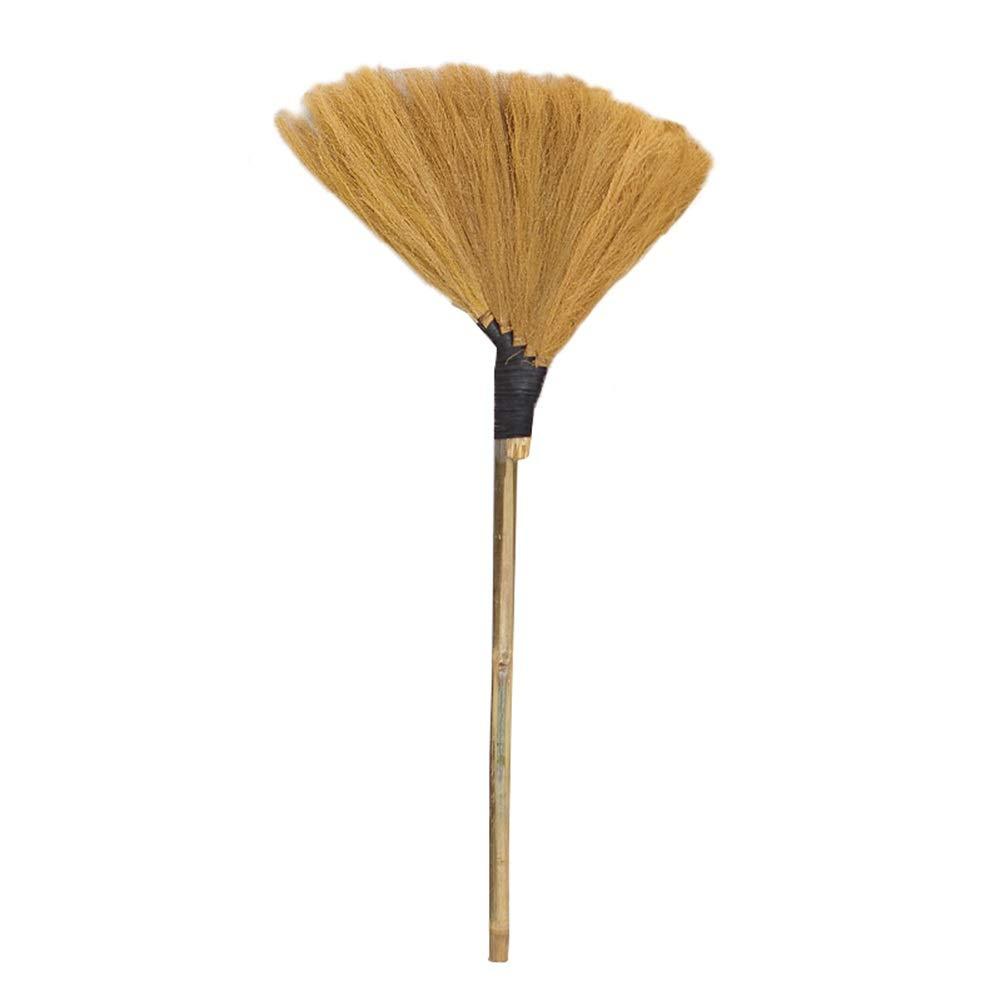 YJFENG Long Manche en Bambou Balai Paille,Balayant La Poussi/ère Poils Doux /Étanche /À La Poussi/ère R/ésistant /À lusure Balai Traditionnel Fait Main Color : Gold, Size : 130x60cm