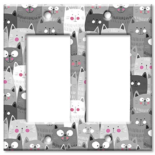 - Art Plates 2 Gang Decora - GFCI Wall Plate - Gray and White Cat Toss