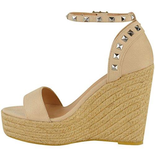Suède Cloutés Chaussures Femmes Hauts Faux Compensés Parti Nude D'été Sandales Plateformes Talons Taille Soif Dames Mode qHZx4fq