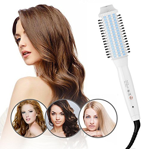 YooZoo Curling Iron Brush Professional Anti-scald Ceramic Ionic Hot Curler Wand Brushs Instant Heat Styling Electric comb for Long Hair White