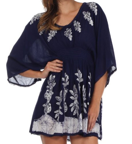 Sakkas 982 Embroidered Batik Gauzy Cotton Tunic Blouse - Navy/White - One Size
