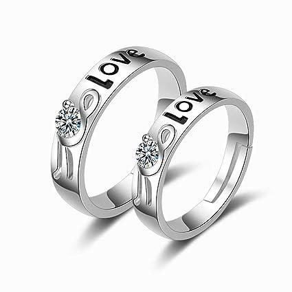 kaige Metal Diamante Moda Parejas para Regalos de Boda Anillo de Apertura Accesorios, a la