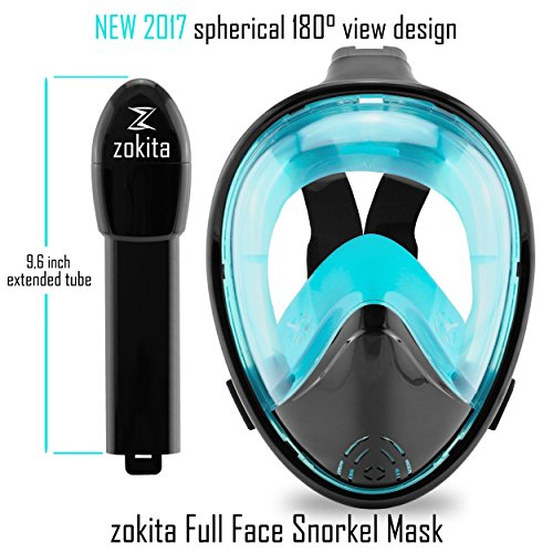 Zokita Full Face Snorkel Mask Adults & Youth Action Cam Compatible Anti Fog Panoramic One Piece Snorkeling Swimming Diving Mask