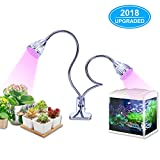 [2018 UPGRADED] LED Grow Light, 10W Dual head Grow light Red/Blue bulb with Separate Control Switches, Adjustable 360 Degree Gooseneck for Indoor Plants Hydroponics Greenhouse Gardening Plant