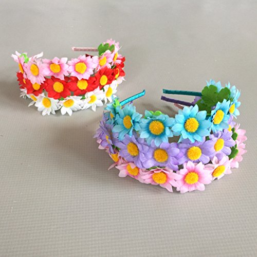 [Assorted Colorful Daisy Flower Garland Crown Festival Party Hair Wreath Floral Headband Party Favor] (Orange Adult Butterfly Costumes)