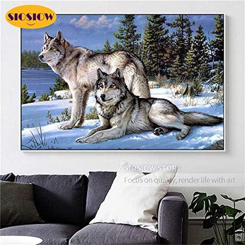 FHGFB 5D-DIY-Lobo de Nieve Diamante Pintura Animal Mosaico Imagen Bordado Decoración Mejor Amigo Regalo Hombre Sin Marco-Diamante Redondo (40x50cm)