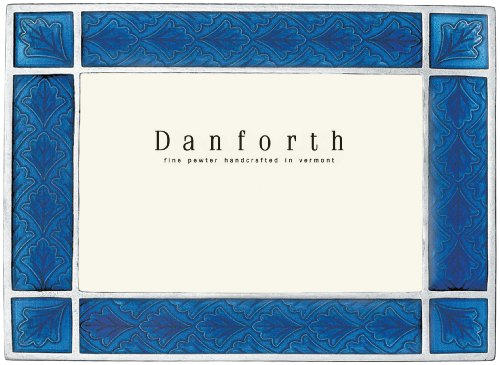 Danforth - Leaf 4x6 Pewter Picture Frame (Cobalt) - Handcrafted - Gift Boxed ()