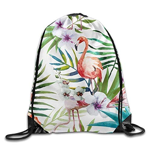 PIHJE Drawstring Gym Backpack bag Flamingo Leaves Flower Painting Waterproof Bunch Backpack For Men And Women